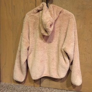 Hooded Fluffy Pink Sweatshirt Forever 21